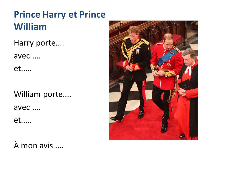 Prince Harry et Prince William Harry porte.... avec....
