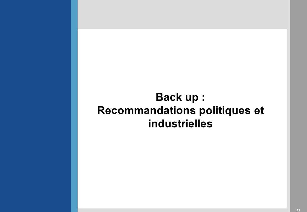 22 Back up : Recommandations politiques et industrielles