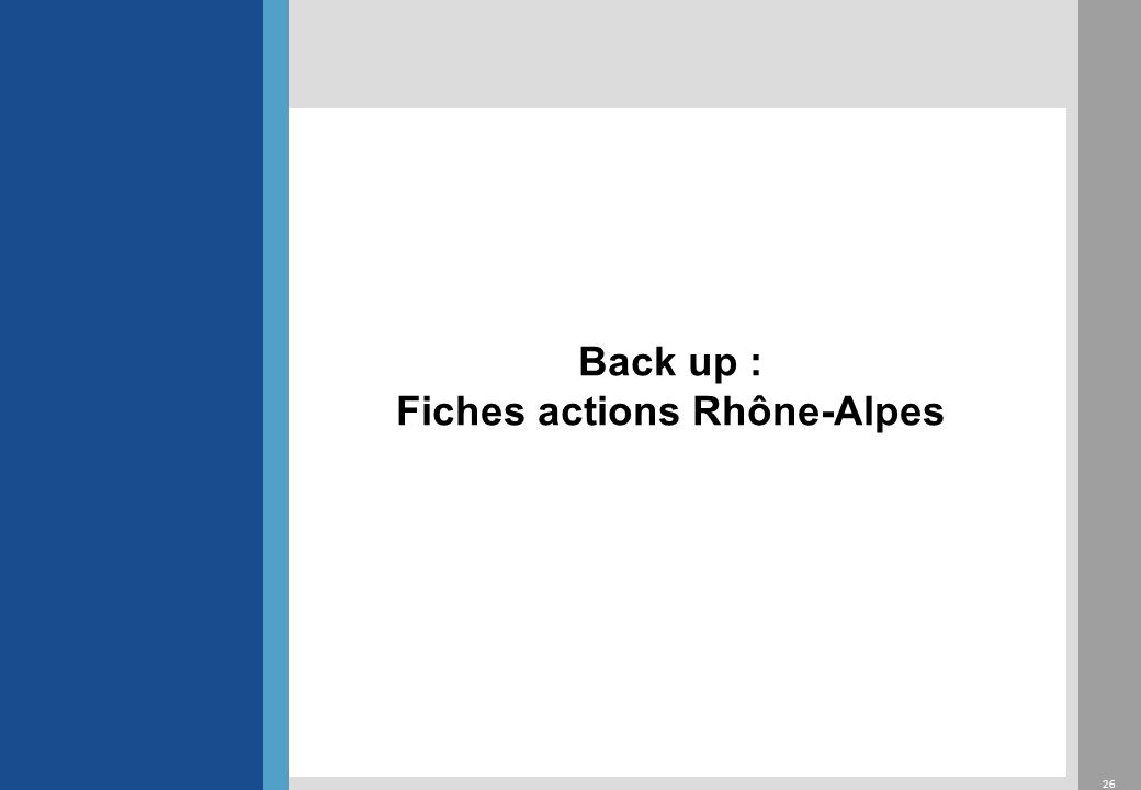 26 Back up : Fiches actions Rhône-Alpes