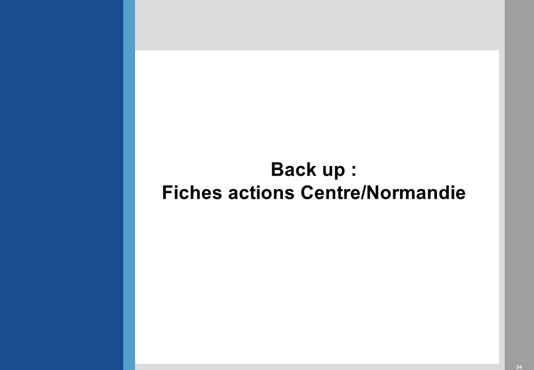 34 Back up : Fiches actions Centre/Normandie