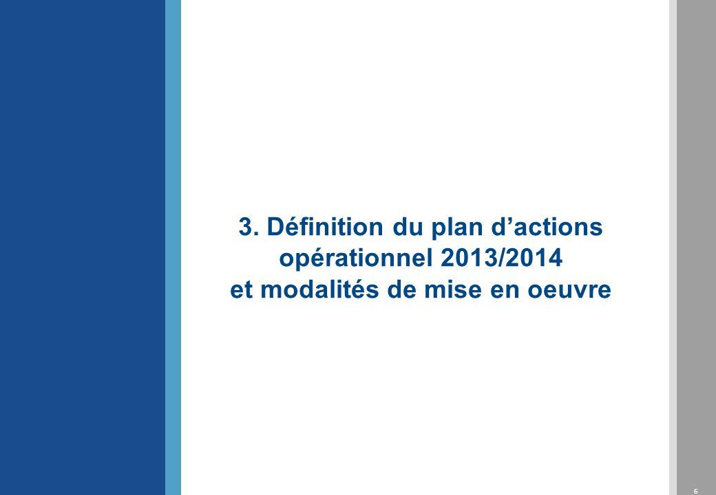 6 3. Définition du plan dactions opérationnel 2013/2014 et modalités de mise en oeuvre