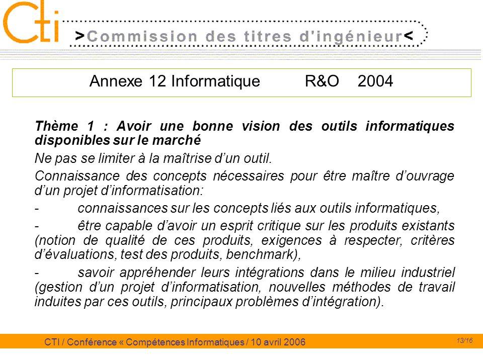 13/16 CTI / Conférence « Compétences Informatiques / 10 avril 2006 Annexe 12 Informatique R&O 2004 Thème 1 : Avoir une bonne vision des outils informa