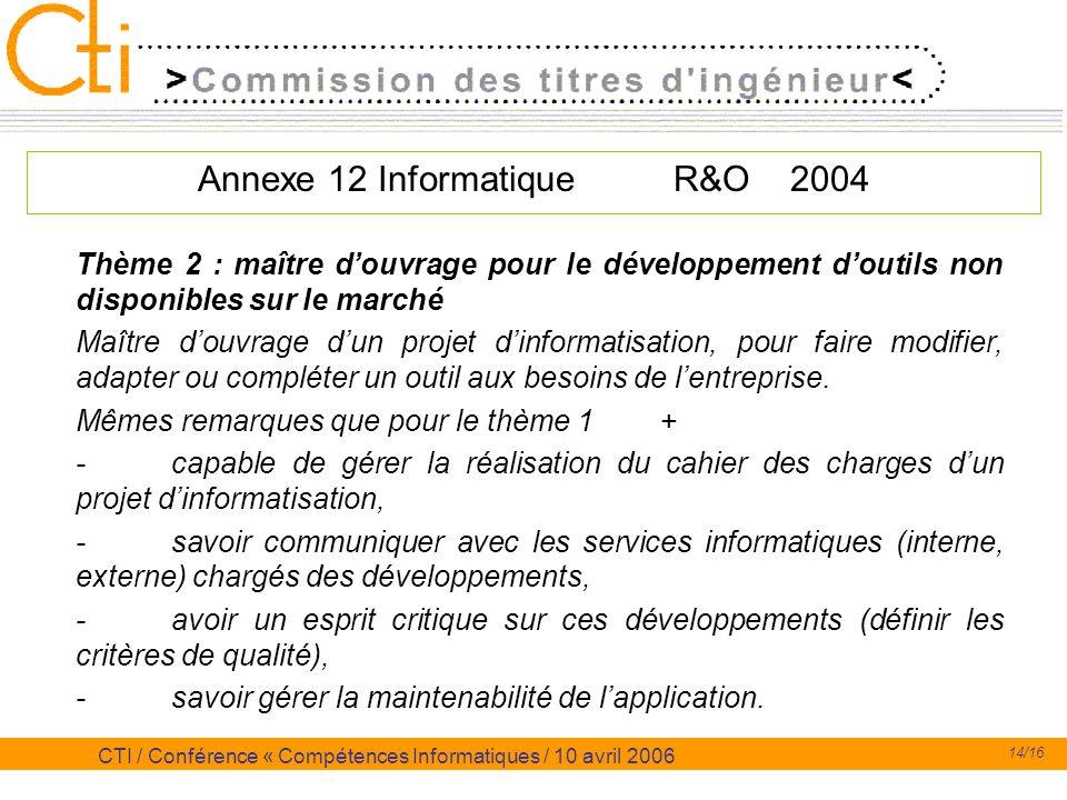 14/16 CTI / Conférence « Compétences Informatiques / 10 avril 2006 Annexe 12 Informatique R&O 2004 Thème 2 : maître douvrage pour le développement dou