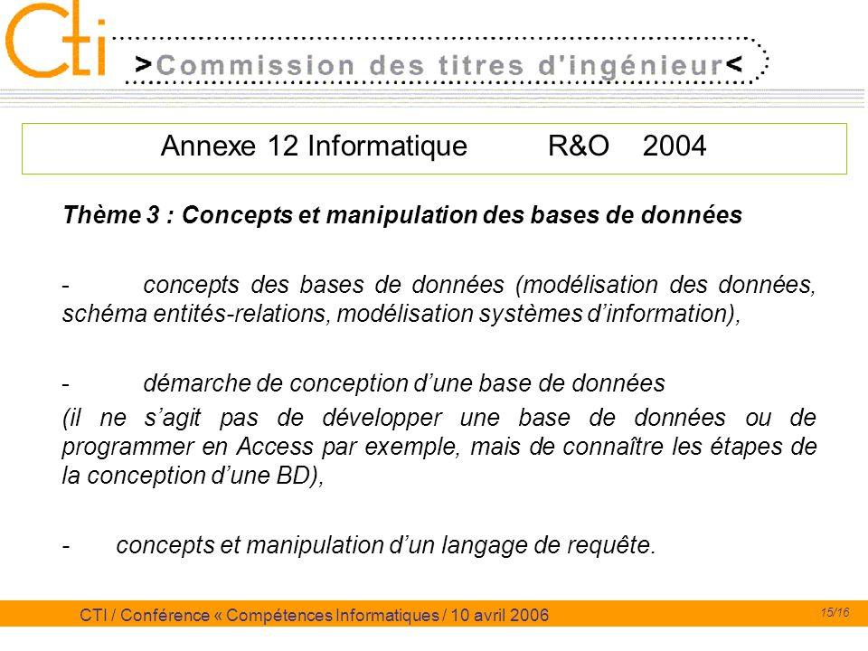 15/16 CTI / Conférence « Compétences Informatiques / 10 avril 2006 Annexe 12 Informatique R&O 2004 Thème 3 : Concepts et manipulation des bases de don