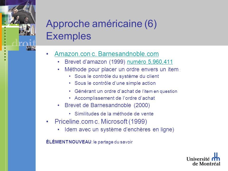 Approche américaine (6) Exemples Amazon.con c.