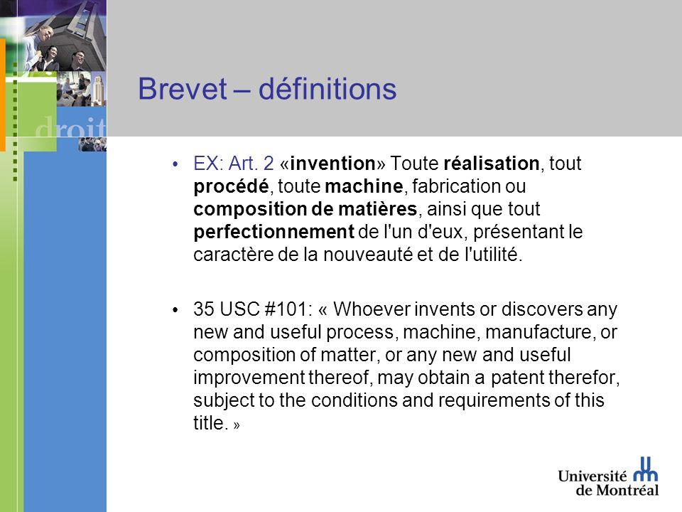 Brevet – définitions EX: Art.