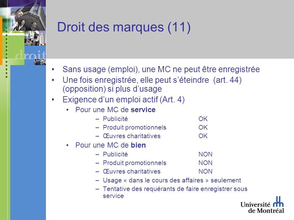 Droit des marques (11) Sans usage (emploi), une MC ne peut être enregistrée Une fois enregistrée, elle peut séteindre (art.