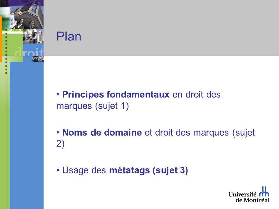 Plan Principes fondamentaux en droit des marques (sujet 1) Noms de domaine et droit des marques (sujet 2) Usage des métatags (sujet 3)