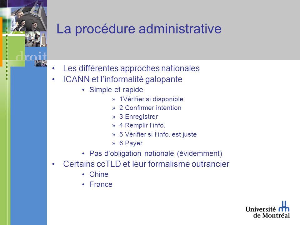 La procédure administrative Les différentes approches nationales ICANN et linformalité galopante Simple et rapide »1Vérifier si disponible »2 Confirmer intention »3 Enregistrer »4 Remplir linfo.