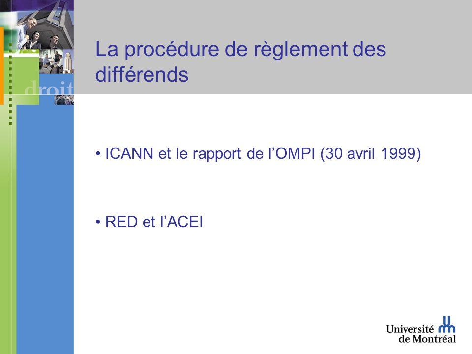 La procédure de règlement des différends ICANN et le rapport de lOMPI (30 avril 1999) RED et lACEI