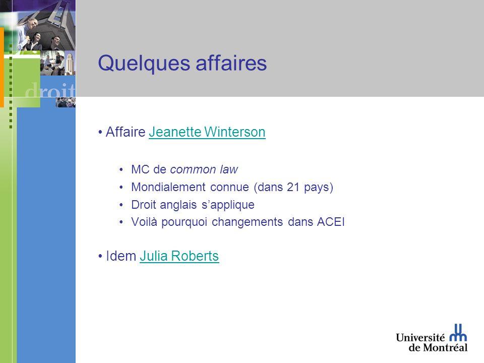 Quelques affaires Affaire Jeanette WintersonJeanette Winterson MC de common law Mondialement connue (dans 21 pays) Droit anglais sapplique Voilà pourquoi changements dans ACEI Idem Julia RobertsJulia Roberts