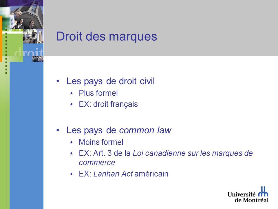 Droit des marques Les pays de droit civil Plus formel EX: droit français Les pays de common law Moins formel EX: Art.