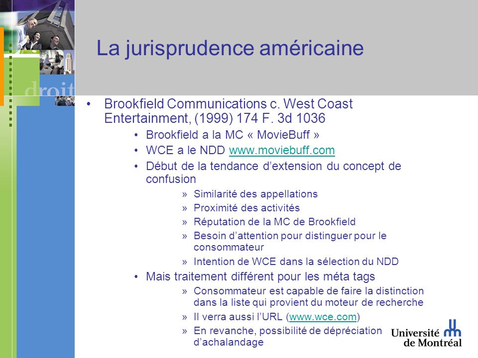 La jurisprudence américaine Brookfield Communications c.