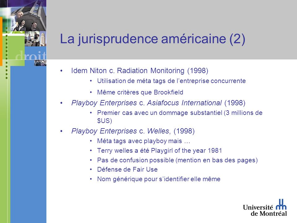 La jurisprudence américaine (2) Idem Niton c.