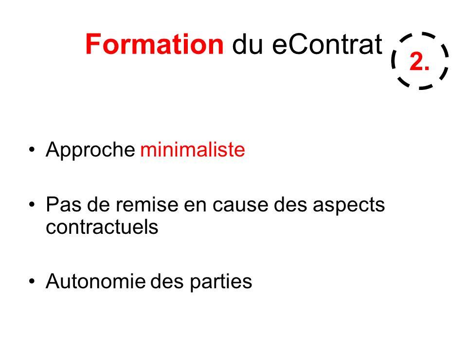 Formation du eContrat Approche minimaliste Pas de remise en cause des aspects contractuels Autonomie des parties 2.