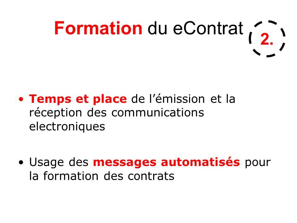 Formation du eContrat Temps et place de lémission et la réception des communications electroniques Usage des messages automatisés pour la formation des contrats 2.