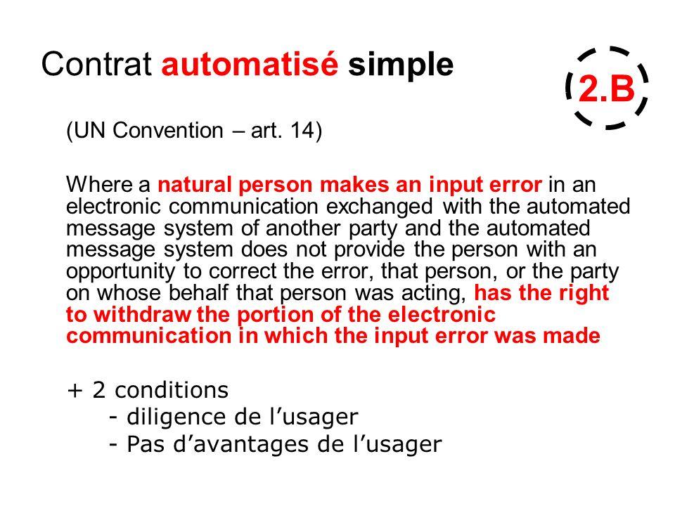Contrat automatisé simple (UN Convention – art.