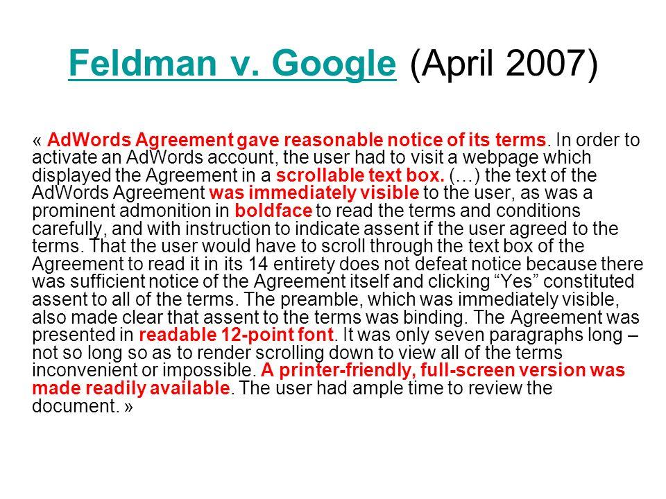 Feldman v.GoogleFeldman v.