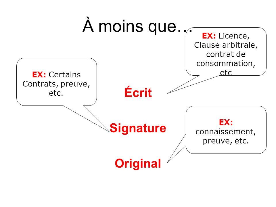 À moins que… Écrit Signature Original EX: connaissement, preuve, etc.