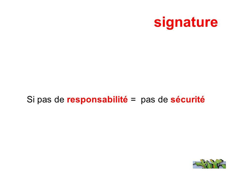 signature Si pas de responsabilité = pas de sécurité