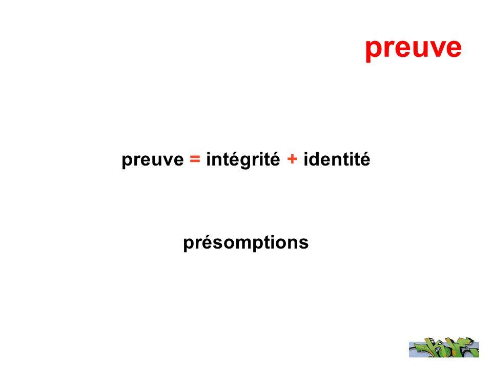 preuve preuve = intégrité + identité présomptions