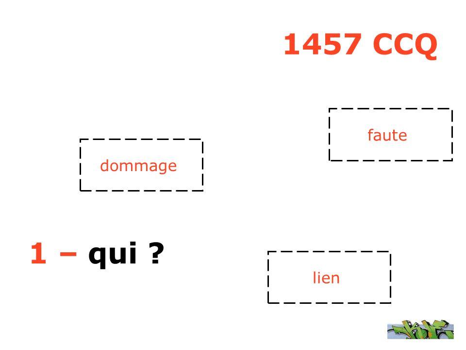 1457 CCQ 1 – qui ? faute lien dommage