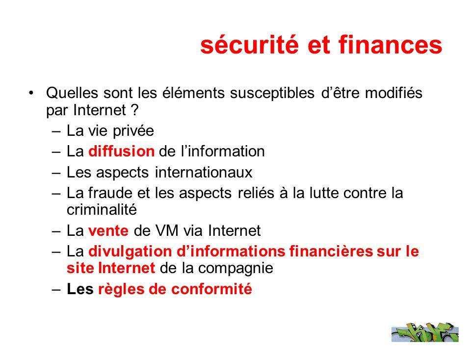 sécurité et finances Quelles sont les éléments susceptibles dêtre modifiés par Internet ? –La vie privée –La diffusion de linformation –Les aspects in