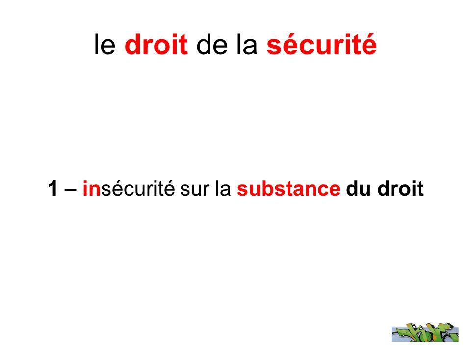 le droit de la sécurité 1 – insécurité sur la substance du droit