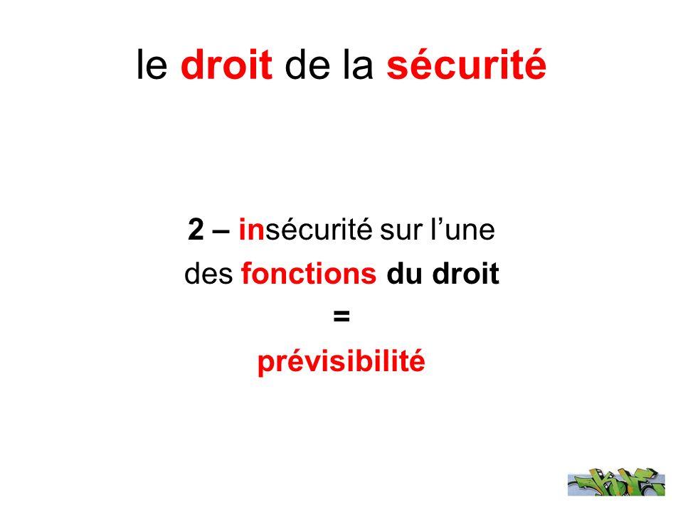 le droit de la sécurité 2 – insécurité sur lune des fonctions du droit = prévisibilité