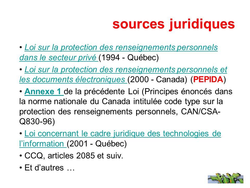 sources juridiques Loi sur la protection des renseignements personnels dans le secteur privé (1994 - Québec)Loi sur la protection des renseignements p