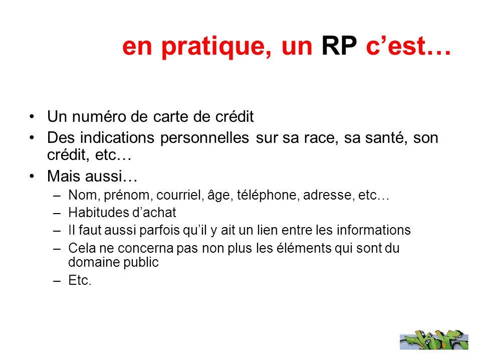 en pratique, un RP cest… Un numéro de carte de crédit Des indications personnelles sur sa race, sa santé, son crédit, etc… Mais aussi… –Nom, prénom, c