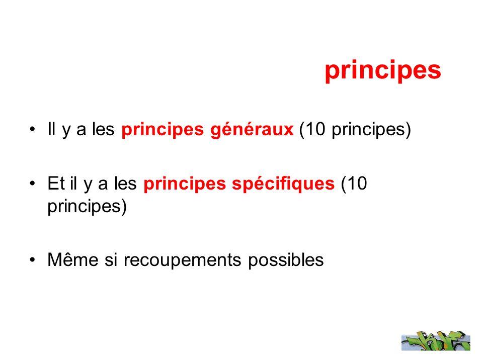 principes Il y a les principes généraux (10 principes) Et il y a les principes spécifiques (10 principes) Même si recoupements possibles