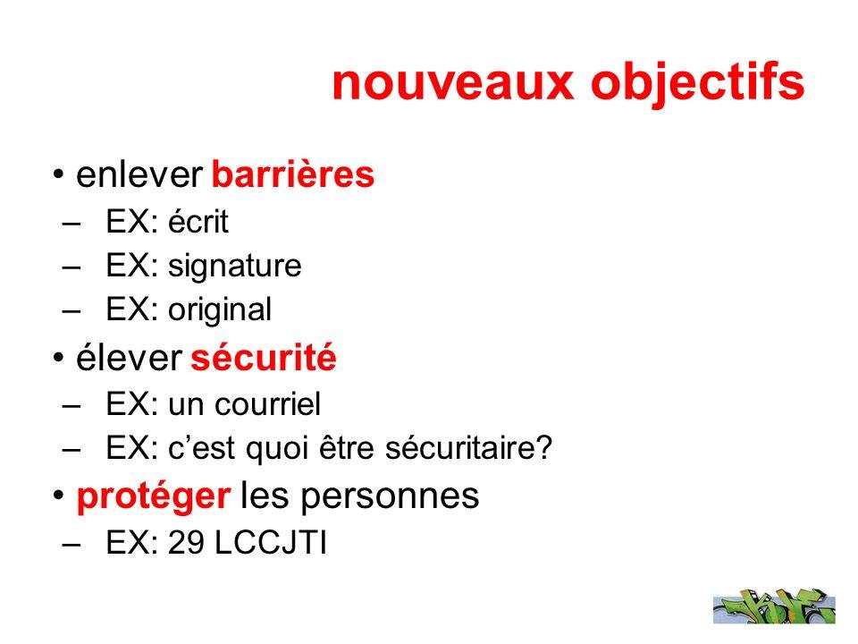 nouveaux objectifs enlever barrières –EX: écrit –EX: signature –EX: original élever sécurité –EX: un courriel –EX: cest quoi être sécuritaire? protége