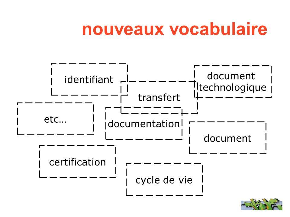 identifiant etc… transfert documentation certification document technologique cycle de vie nouveaux vocabulaire