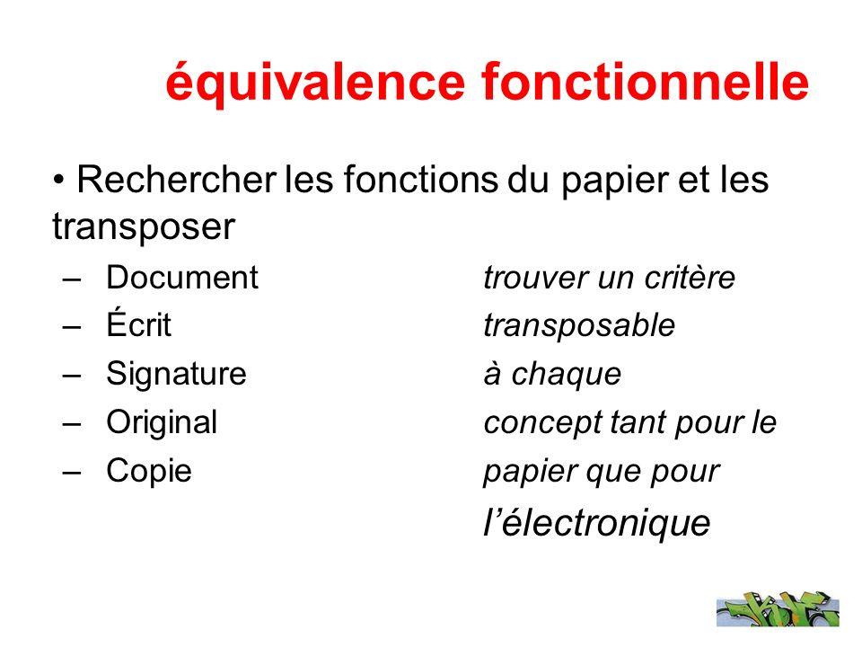 équivalence fonctionnelle Rechercher les fonctions du papier et les transposer –Document trouver un critère –Écrit transposable –Signature à chaque –O