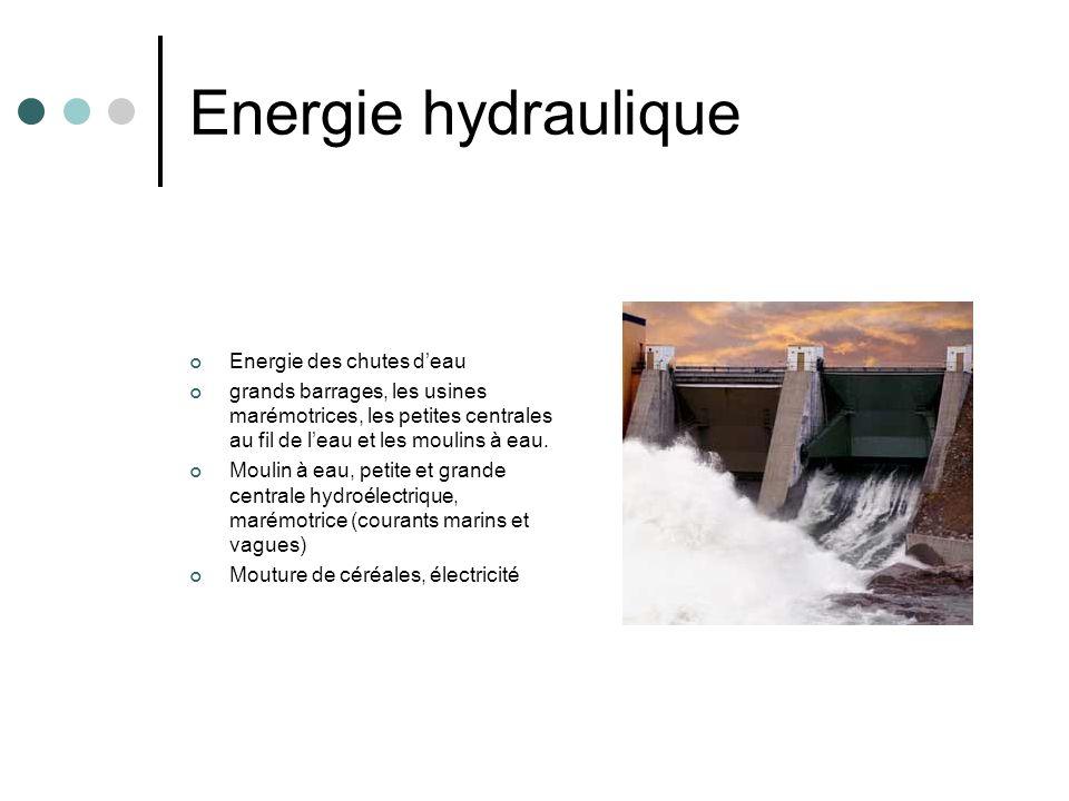 Energie hydraulique Energie des chutes deau grands barrages, les usines marémotrices, les petites centrales au fil de leau et les moulins à eau. Mouli