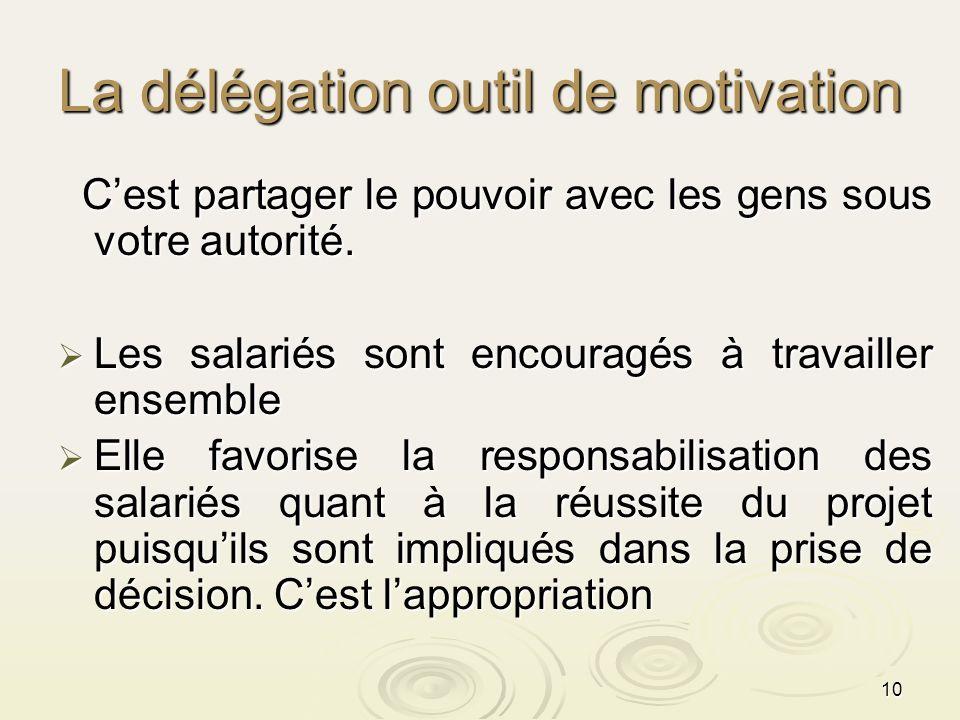 10 La délégation outil de motivation Cest partager le pouvoir avec les gens sous votre autorité. Cest partager le pouvoir avec les gens sous votre aut
