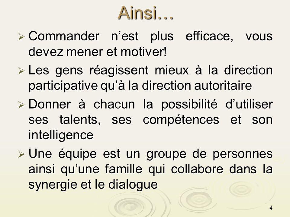 4Ainsi… Commander nest plus efficace, vous devez mener et motiver! Commander nest plus efficace, vous devez mener et motiver! Les gens réagissent mieu
