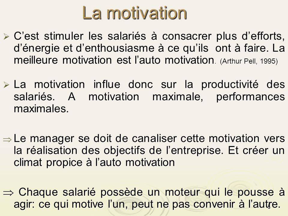 5 La motivation La motivation Cest stimuler les salariés à consacrer plus defforts, dénergie et denthousiasme à ce quils ont à faire. La meilleure mot