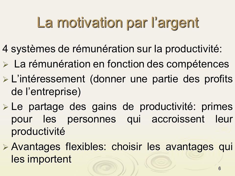 6 La motivation par largent 4 systèmes de rémunération sur la productivité: La rémunération en fonction des compétences La rémunération en fonction de