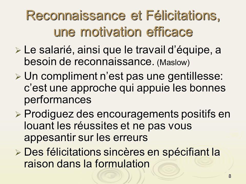 8 Reconnaissance et Félicitations, une motivation efficace Le salarié, ainsi que le travail déquipe, a besoin de reconnaissance. (Maslow) Le salarié,