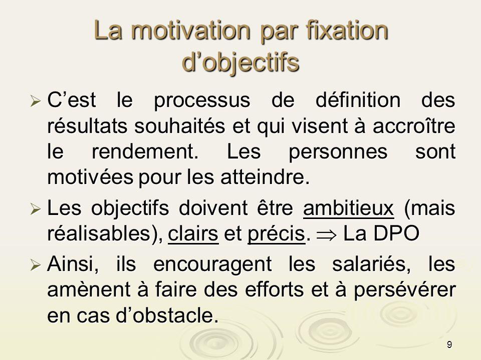 9 La motivation par fixation dobjectifs Cest le processus de définition des résultats souhaités et qui visent à accroître le rendement. Les personnes
