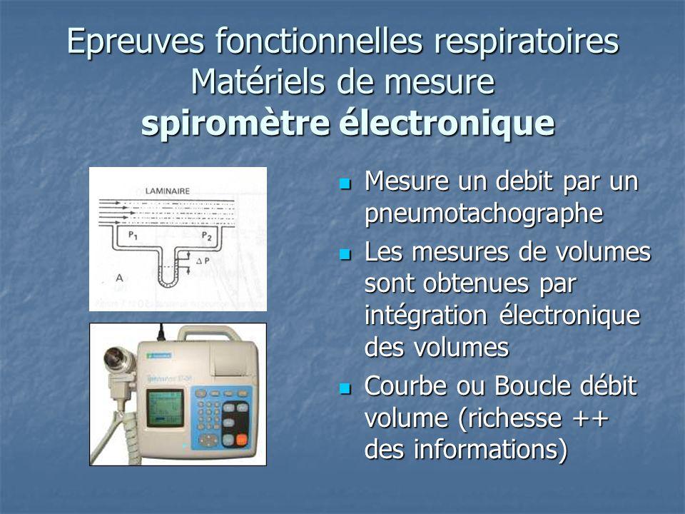 Epreuves fonctionnelles respiratoires Matériels de mesure spiromètre électronique Mesure un debit par un pneumotachographe Mesure un debit par un pneu