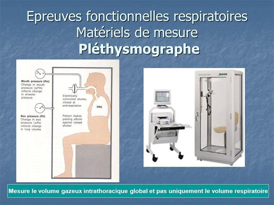 Epreuves fonctionnelles respiratoires Matériels de mesure Pléthysmographe Mesure le volume gazeux intrathoracique global et pas uniquement le volume r