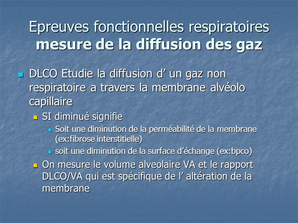 Epreuves fonctionnelles respiratoires mesure de la diffusion des gaz DLCO Etudie la diffusion d un gaz non respiratoire a travers la membrane alvéolo