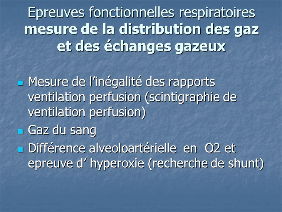 Epreuves fonctionnelles respiratoires mesure de la distribution des gaz et des échanges gazeux Mesure de linégalité des rapports ventilation perfusion