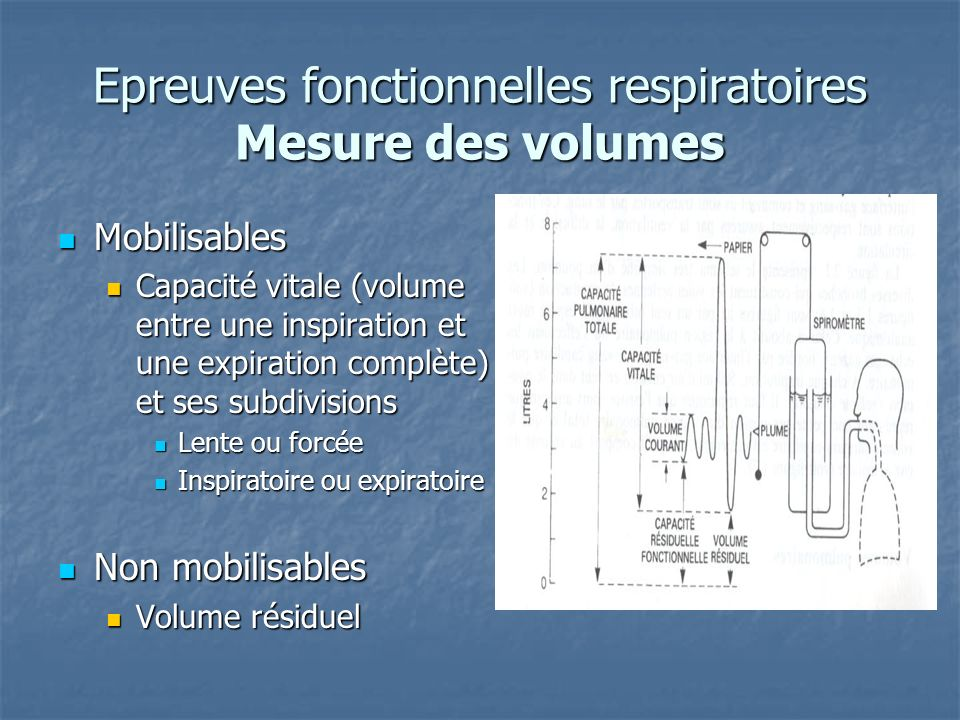 Epreuves fonctionnelles respiratoires Mesure des volumes Mobilisables Mobilisables Capacité vitale (volume entre une inspiration et une expiration com