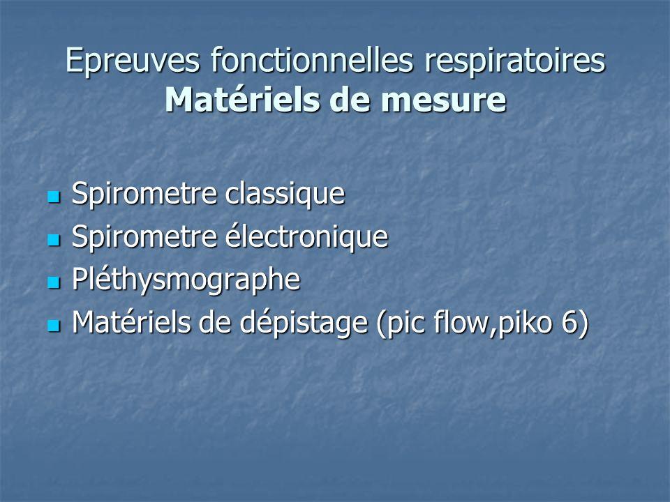 Epreuves fonctionnelles respiratoires Matériels de mesure Spirometre classique Spirometre classique Spirometre électronique Spirometre électronique Pl