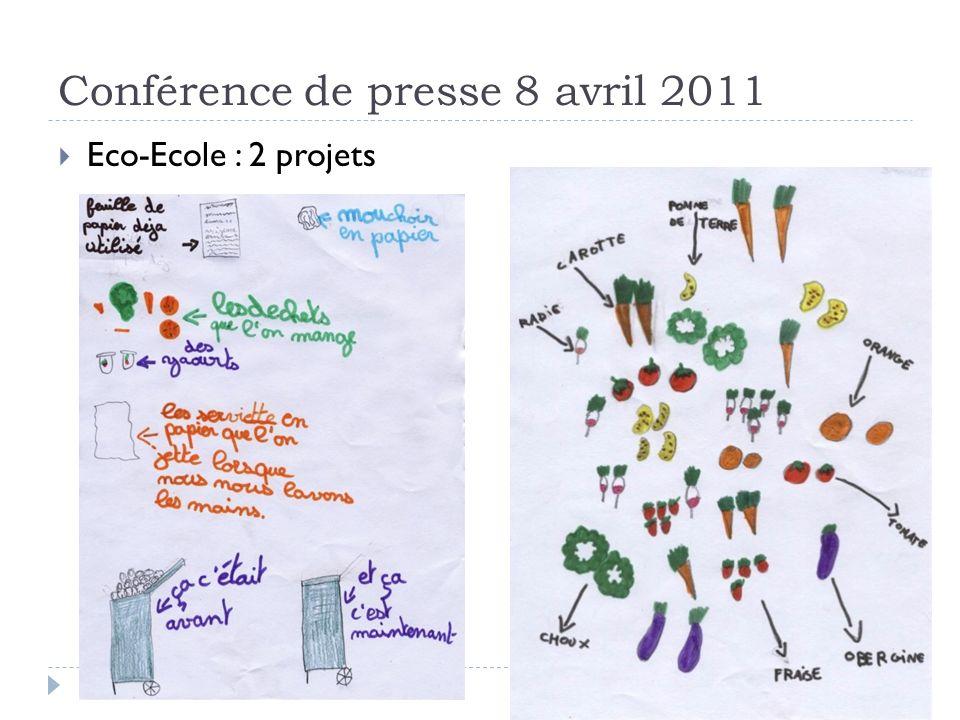 Conférence de presse 8 avril 2011 Eco-Ecole : 2 projets