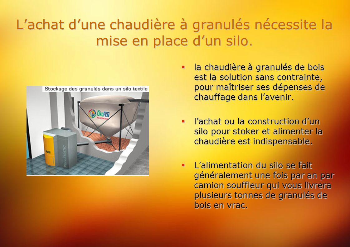 Lachat dune chaudière à granulés nécessite la mise en place dun silo.